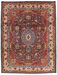 Vintage Floral Oriental Kashmar Rug 10and039x13and039 Blue/ivory Hand-knotted Wool Pile