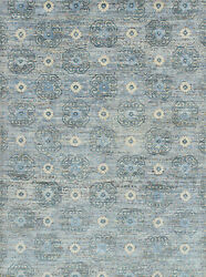 Modern Village Mamluk Rug 9and039x12and039 Grey Hand-knotted Wool Pile
