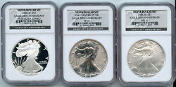 2006 American Silver Eagle 3-coin Set Ngc Ms 69 And Pf 69 Certified 20th Ann Bl792