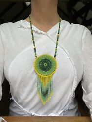 Large Huichol / Wixarika Beaded Art Medicine Pouch Necklace - Yellow And Green