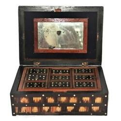 Antique Anglo-indian Bone Brown Porcupine Quill Storage Or Jewelry Box W/ Insert