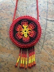 Huichol Wixarika Small Double Sided Beaded Medicine Pouch Necklace