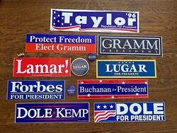 Historical 1996 Gop Presidential Primary Bundle Signs-buttons-bumper Stickers