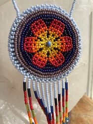 Huichol / Wixarika Double Sided Beaded Medicine Pouch Necklace