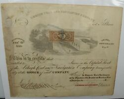 1867 Lehigh Coal And Navigation Company - Stock Certificate - 25 Cent Tax Stamp