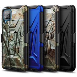 For Samsung Galaxy A12 Case Holster Belt Clip Kickstand Cover + Tempered Glass