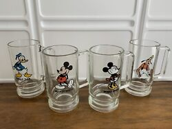 Disney Set 4 Vintage 1960and039s D Handle Drinking Glasses Mugs Mickey Minnie Donald