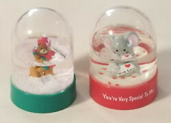 Vintage Snow Globes - Set Of 2 -you're Very Special And Bear Shoveling - 1980's