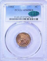 1884 Indian Head Cent Pcgs Ms65rb Rare With Cac Golden Red Great Luster Pq G867