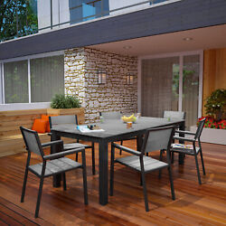Outdoor Patio Furniture Aluminum Brown Gray 7pc Dining Chair And Table Set
