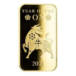 Special Price 2021 1oz .9999 Gold Bar Lunar Year Of The Ox In Certi-lock® A508