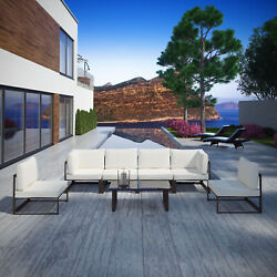 7pc Outdoor Patio Furniture Aluminum Cushioned Sectional Sofa Set In Brown White