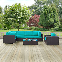 7pc Wicker Rattan Cushioned Outdoor Patio Sectional Set In Espresso Turquoise