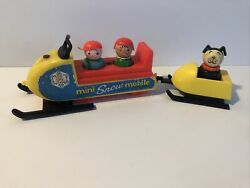 Vtg Fisher Price Little People 705 Mini Snowmobile Wooden Figures Turquoise Blk