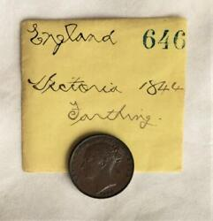 Rare 1844 Farthing Ex Lyman Low Commodore Perry Collection Free Usa Shipping