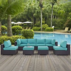 8pc Wicker Rattan Cushioned Outdoor Patio Sectional Set In Espresso Turquoise