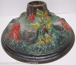 Antique Christmas Tree Stand Poinsettia Rocks Roots Cast Iron High Relief Unique
