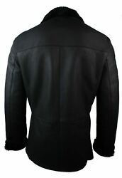 Mens Real Shearling German Navy Sheepskin Double Breasted Jacket Black Fitted