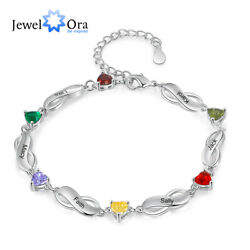 Personalized Women Bracelet Custom 6 Names With Birthstones Free Engraving Gift $16.59
