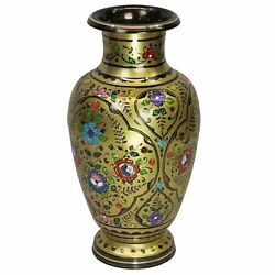 Natural Geo Decorative Brass 18 Yellow/gold Floral Chinese Jar