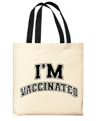 Tote Bag For Women 2021 I#x27;m Vaccinated Canvas Tote Bag $16.99
