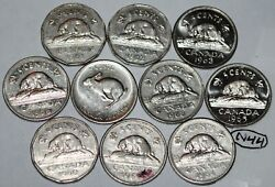 Canada 1960 1961 1962 1963 1964 1965 1966 1967 1968 1969 10 X 5 Cents Lot N44