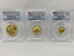2016-w 100th Centennial Gold 3 Coin Set Pcgs Sp70 First Day Of Issue First Strik