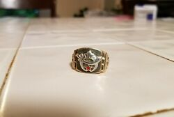 Vintage Mens Gold Shriners Ring 14 Kt Yellow Gold With White Gold In Lay Size 8