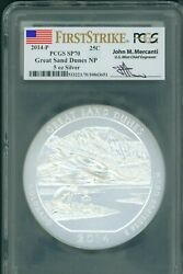 2014-p Great Sand Dunes Np Atb 5 Oz. Silver Pcgs Sp70 First Strike Fs Mercanti