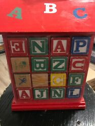 32 Vintage Toy Alphabet Wood Building Blocks In Carry Display Case Free Ship Oo