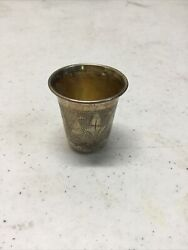 Antique Imperial Russian 84 Sterling Silver Jigger/shot Glass Etched 15.9 Grams