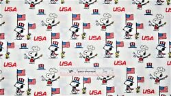 Peanuts Snoopy Woodstock Bar-b-que Toss Patriotic Usa Cotton Fabric Bty N