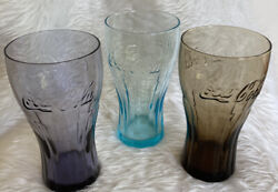 Coca Cola Coke Mcdonalds Purple, Teal And Brown 16oz Drinking Glasses
