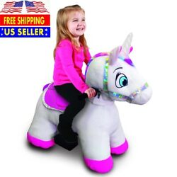 1 Pcs Willow Unicorn Plush Ride-on With Light Up Horn 6 Volt Play Stable Buddies