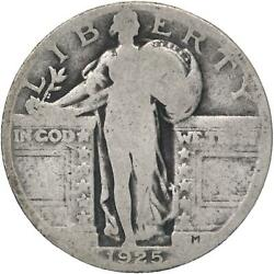 1925 Standing Liberty Quarter 90 Silver About Good Ag