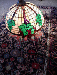 Antique Leaded Glass Shade--24'' Diameter Hanging Shade With Cherries. 1910-30's