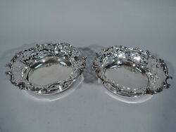 Howard Coasters - Pair Antique Victorian Wine Bottle American Sterling Silver