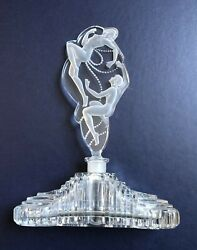 C1920 Bohemia/czech Art Deco Etched Frosted Nudes Stopper/crystal Perfume Bottle