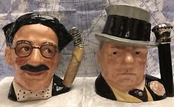 """Royal Doulton Toby Jug """"groucho Marx"""". Large D 6710 And """" W.c. Fields"""" Large D6674"""