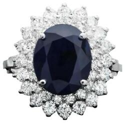 6.00ct Natural Blue Sapphire And Diamond 14k White Solid Gold Ring