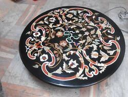 30and039and039 Black Antique Marble Center Coffee Table Top Inlay Mosaic Pietra Dura