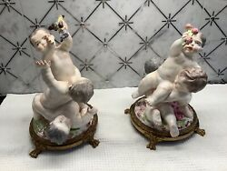 Antique Majolica 1842 Pair Porcelain Putti With Bronze Signed Base Excellent