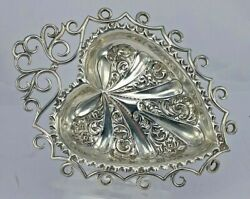 1893 Victorian Silver Heart Shape Dish On Three Bracket Feet Lawrence Emanuel