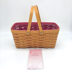 Longaberger 2013 Horizon Of Hope Pink Inside Tote Basket, Wood Ribbons And Prote