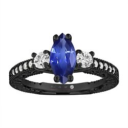 Marquise Sapphire Engagement Ring 1.40 Carat Vintage Style 14k Black Gold
