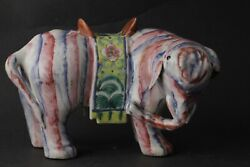 18th/19th Century Chinese Elephant Candle Holder Chinese Figurine Famille Rose