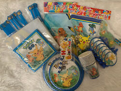 Pokemon Birthday Party Set For 10 Guests Banner,plates, Cups, Photo Backdrop Etc