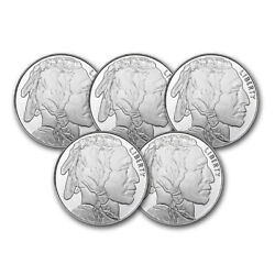 1 oz Silver Round Buffalo Lot of 5 Rounds .999 Fine Silver $136.30