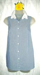 Sharagano Blue White Striped Perforated Embroidered Back Women#x27;s Top Small $17.99