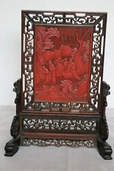 Antique 19th Century Cinnabar Carved Table Screen 12.75 Inches